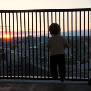 Максик взирает на закат с балкона номера в Филадельфии
