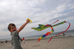 Бориска сам держит летящий воздушный змей